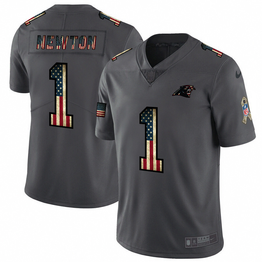 Nike Panthers 1 Cam Newton 2019 Salute To Service USA Flag Fashion Limited Jersey