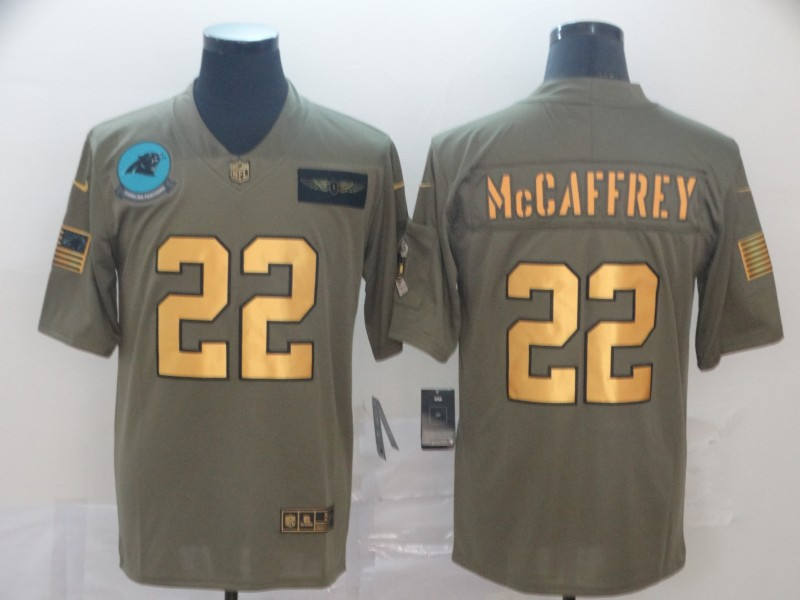 Nike Panthers 22 Christian McCaffrey 2019 Olive Gold Salute To Service Limited Jersey