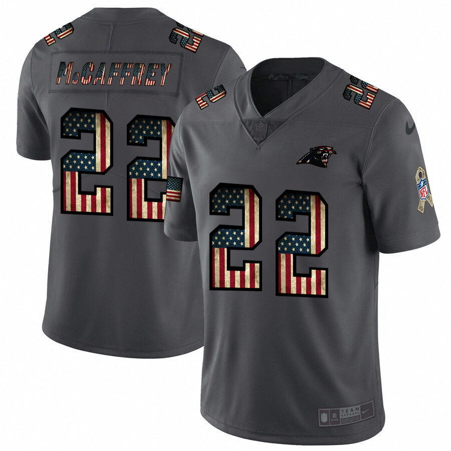 Nike Panthers 22 Christian McCaffrey 2019 Salute To Service USA Flag Fashion Limited Jersey