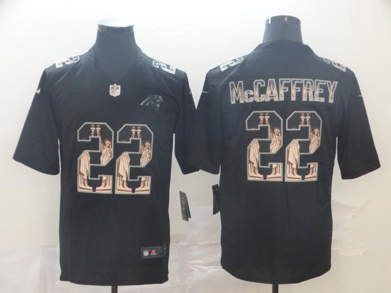 Nike Panthers 22 Christian McCaffrey Black Statue Of Liberty Limited Jersey