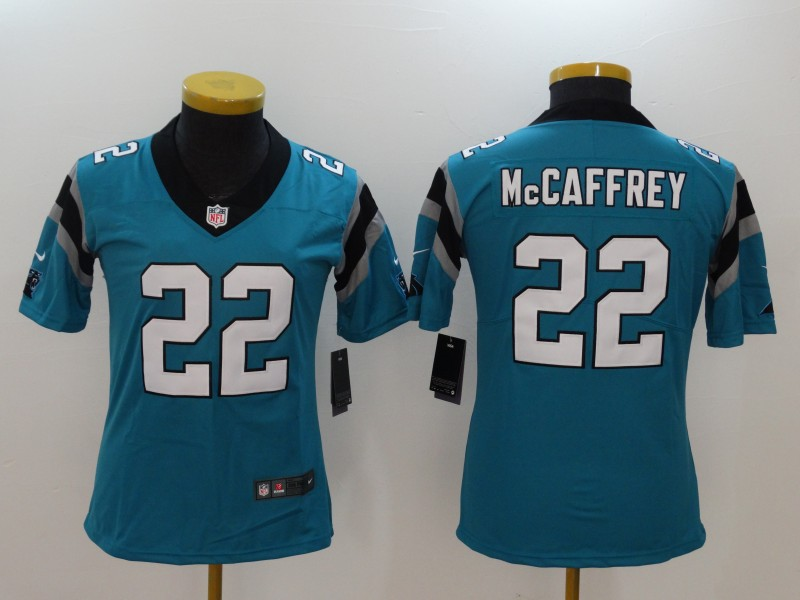 more photos f73d8 e4304 Nike Panthers 22 Christian McCaffrey Blue Women Vapor ...