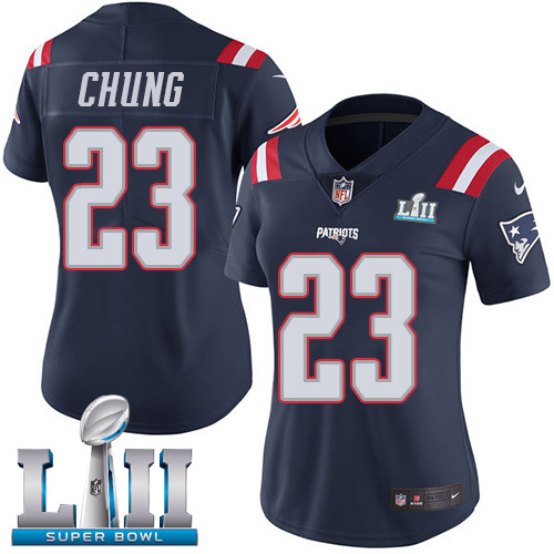Nike Patriots #23 Patrick Chung Navy Blue Super Bowl LII Women's Stitched NFL Limited Rush Jersey