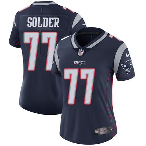 Nike Patriots #77 Nate Solder Navy Blue Team Color Women's Stitched NFL Vapor Untouchable Limited Jersey