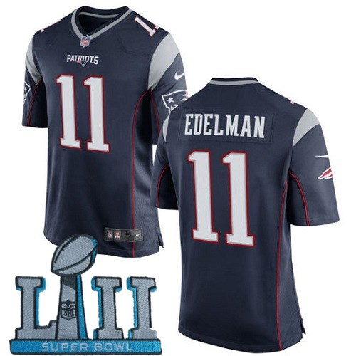 Nike Patriots 11 Julian Edelman Navy Youth 2018 Super Bowl LII Game Jersey