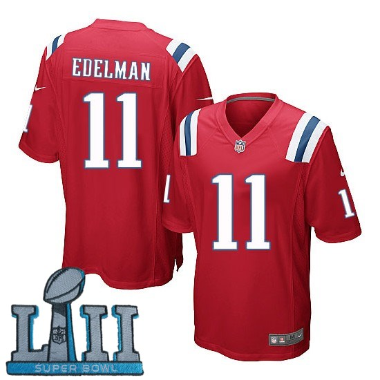 Nike Patriots 11 Julian Edelman Red Youth 2018 Super Bowl LII Game Jersey