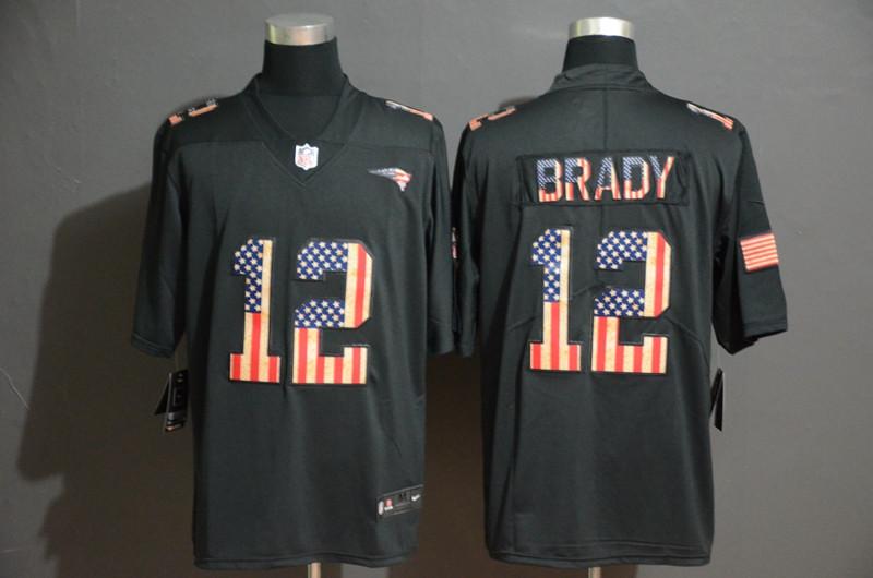 Nike Patriots 12 Tom Brady 2019 Black Salute To Service USA Flag Fashion Limited Jersey