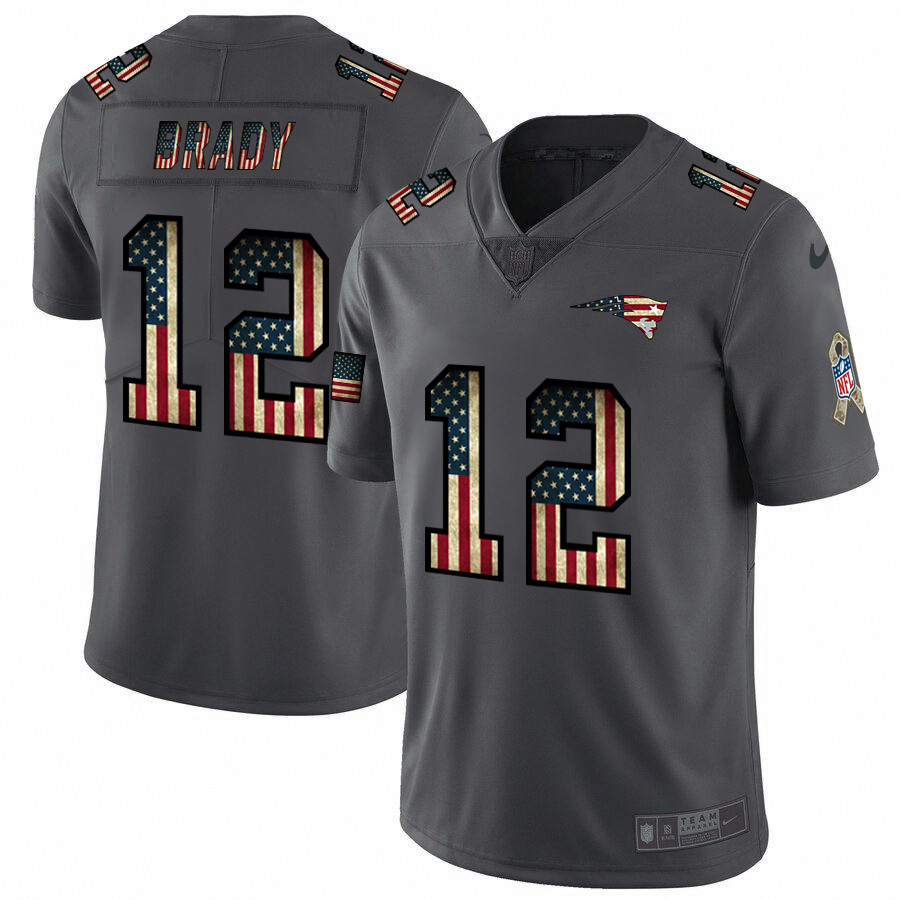 Nike Patriots 12 Tom Brady 2019 Salute To Service USA Flag Fashion Limited Jersey