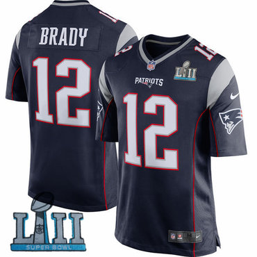 Nike Patriots 12 Tom Brady Navy Youth 2018 Super Bowl LII Game Jersey