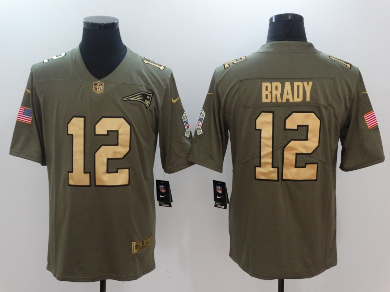 uk availability f0fea d76a2 Nike Patriots 12 Tom Brady Olive Gold Salute To Service ...