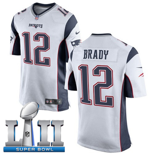 Nike Patriots 12 Tom Brady White Youth 2018 Super Bowl LII Game Jersey