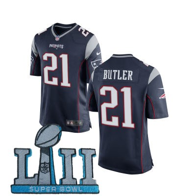 Nike Patriots 21 Malcolm Butler Navy Youth 2018 Super Bowl LII Game Jersey