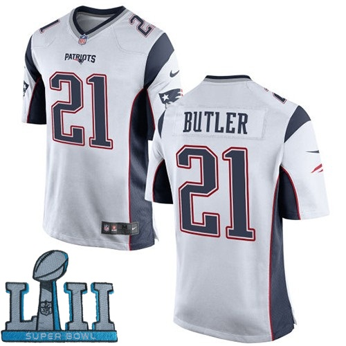 Nike Patriots 21 Malcolm Butler White Youth 2018 Super Bowl LII Game Jersey