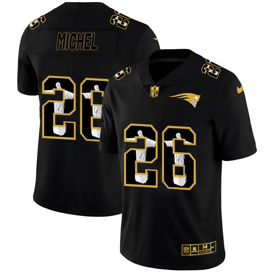 Nike Patriots 26 Sony Michel Black Jesus Faith Edition Limited Jersey