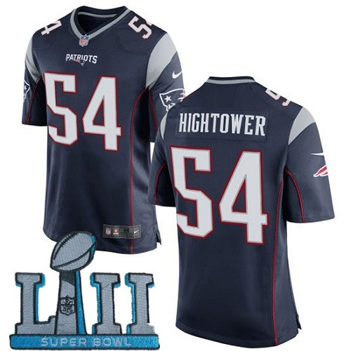 Nike Patriots 54 Dont'a Hightower Navy Youth 2018 Super Bowl LII Game Jersey