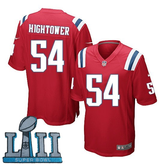 Nike Patriots 54 Dont'a Hightower Red Youth 2018 Super Bowl LII Game Jersey
