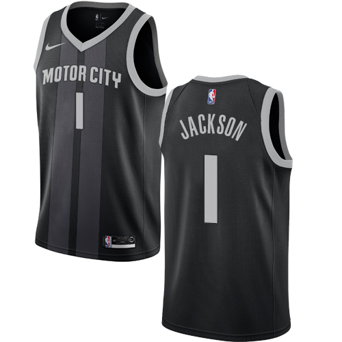 Nike Pistons #1 Reggie Jackson Black NBA Swingman City Edition 2018 19 Jersey