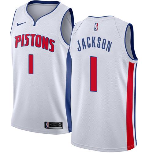 Nike Pistons #1 Reggie Jackson White NBA Swingman Association Edition Jersey