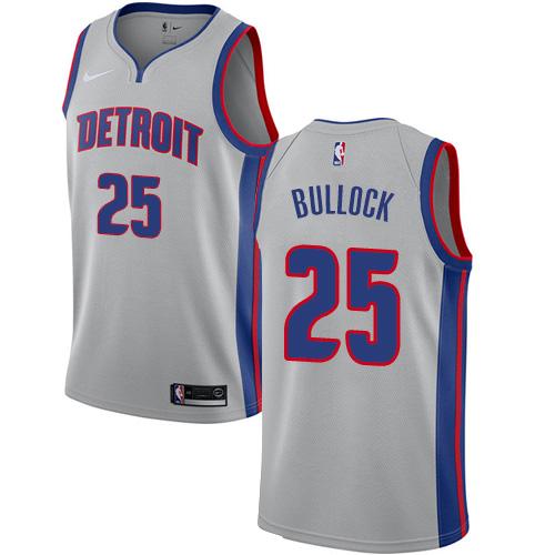 Nike Pistons #25 Reggie Bullock Silver NBA Swingman Statement Edition Jersey