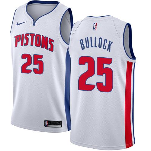 Nike Pistons #25 Reggie Bullock White NBA Swingman Association Edition Jersey
