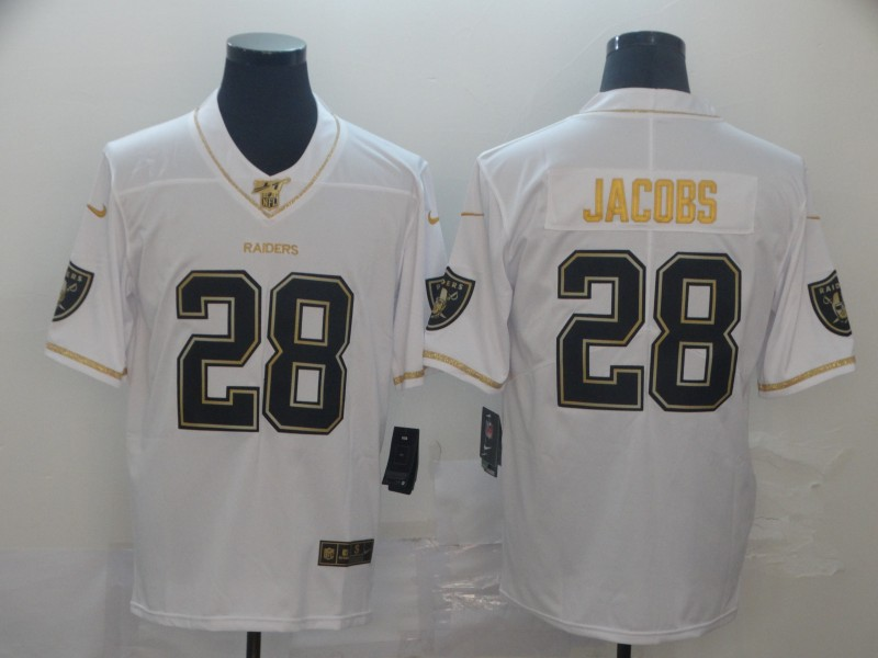 Nike Raiders 28 Josh Jacobs White Gold Vapor Untouchable Limited Jersey