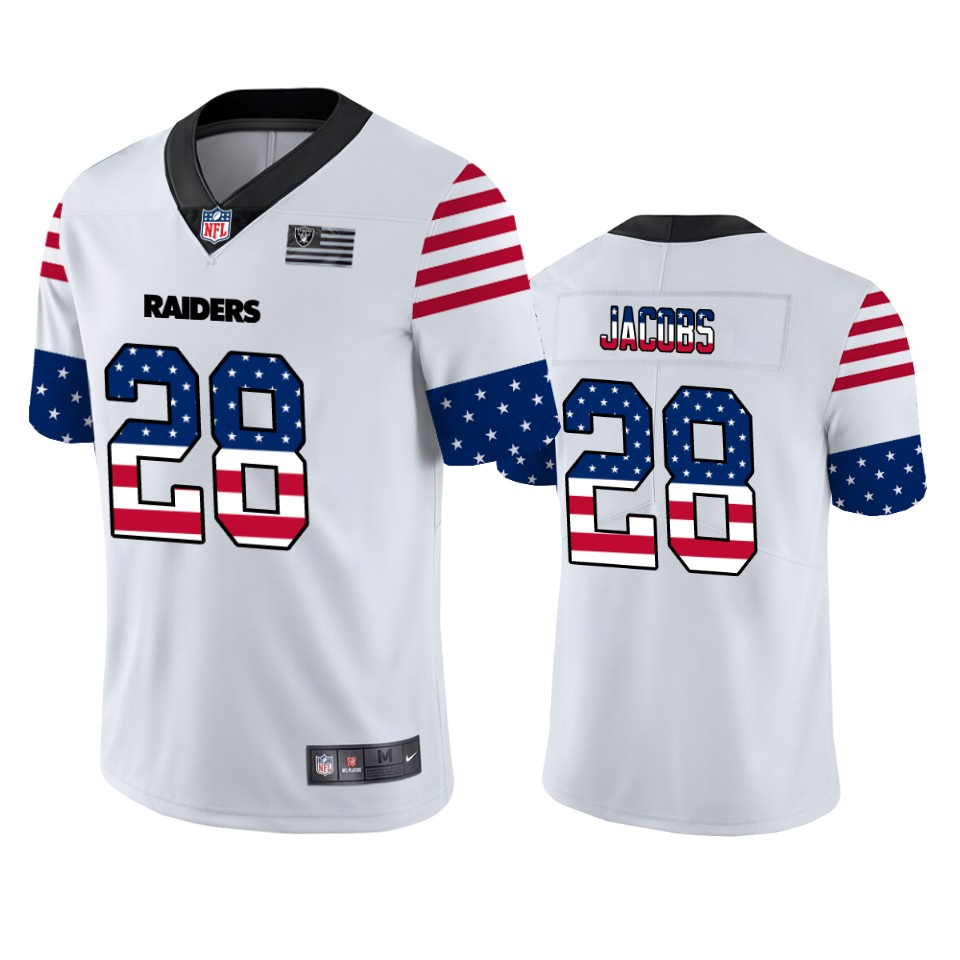 Nike Raiders 28 Josh Jacobs White USA Flag Fashion Limited Jersey
