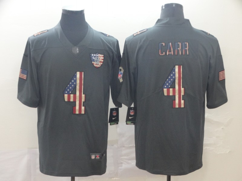 Nike Raiders 4 Derek Carr 2019 Salute To Service USA Flag Fashion Limited Jersey