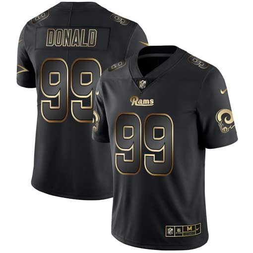 Nike Rams 99 Aaron Donald Black Gold Vapor Untouchable Limited Jersey