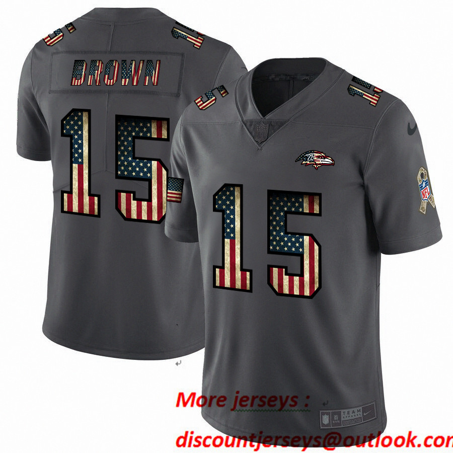 Nike Ravens 15 Marquise Brown 2019 Salute To Service USA Flag Fashion Limited Jersey