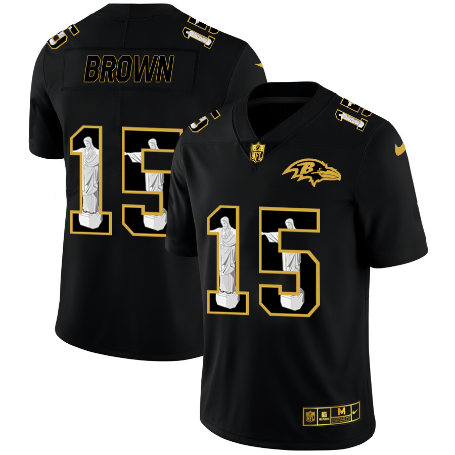 Nike Ravens 15 Marquise Brown Black Jesus Faith Edition Limited Jersey