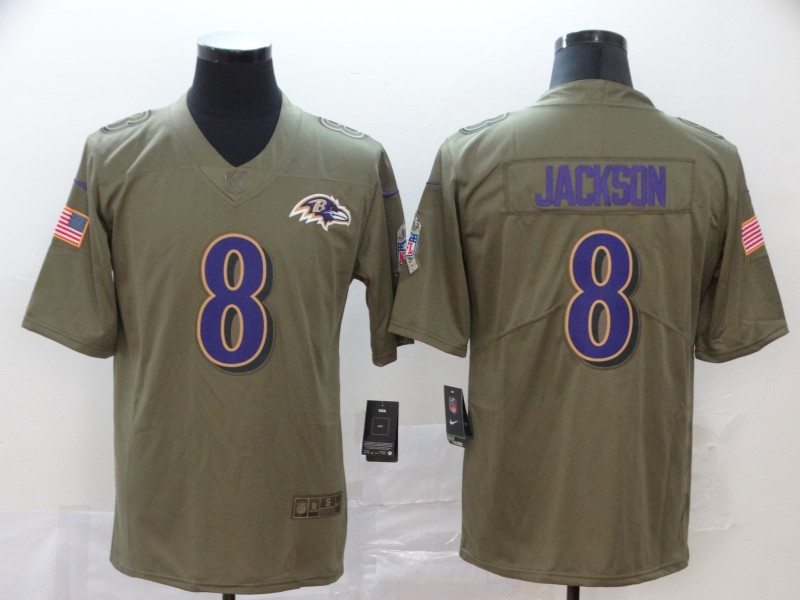 Nike Ravens 8 Lamar Jackson 2017 Olive Salute To Service Limited Jersey