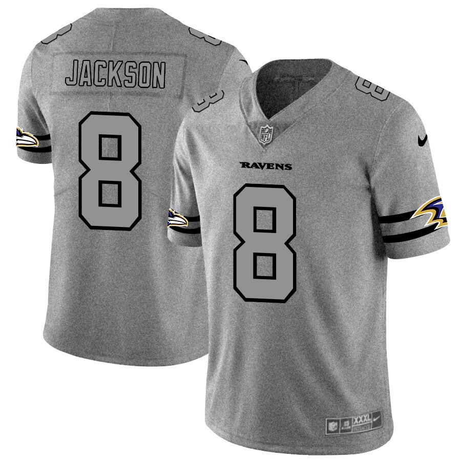 Nike Ravens 8 Lamar Jackson 2019 Gray Gridiron Gray Vapor Untouchable Limited Jersey