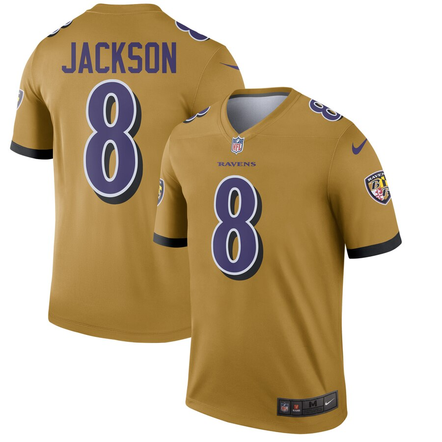 Nike Ravens 8 Lamar Jackson Gold Inverted Legend Jersey