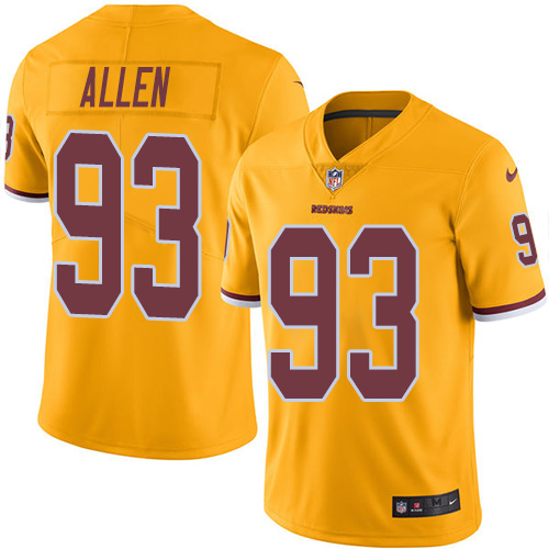 Nike Redskins #93 Jonathan Allen Gold Youth Stitched NFL Limited Rush Jersey