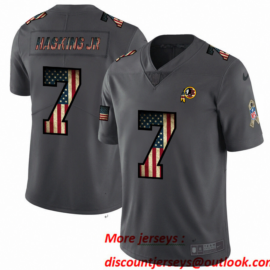 Nike Redskins 7 Dwayne Haskins Jr 2019 Salute To Service USA Flag Fashion Limited Jersey