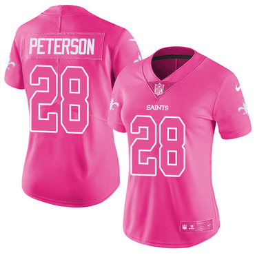 Nike Saints #28 Adrian Peterson Pink Women's Stitched NFL Limited Rush Fashion Jersey