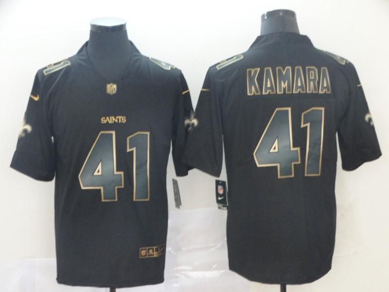 Nike Saints 41 Alvin Kamara Black Gold Vapor Untouchable Limited Jersey