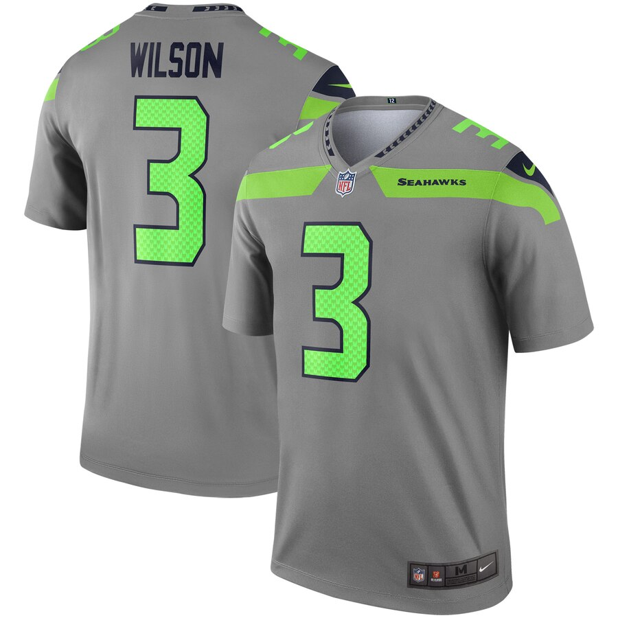 Nike Seahawks 3 Russell Wilson Gray Inverted Legend Jersey