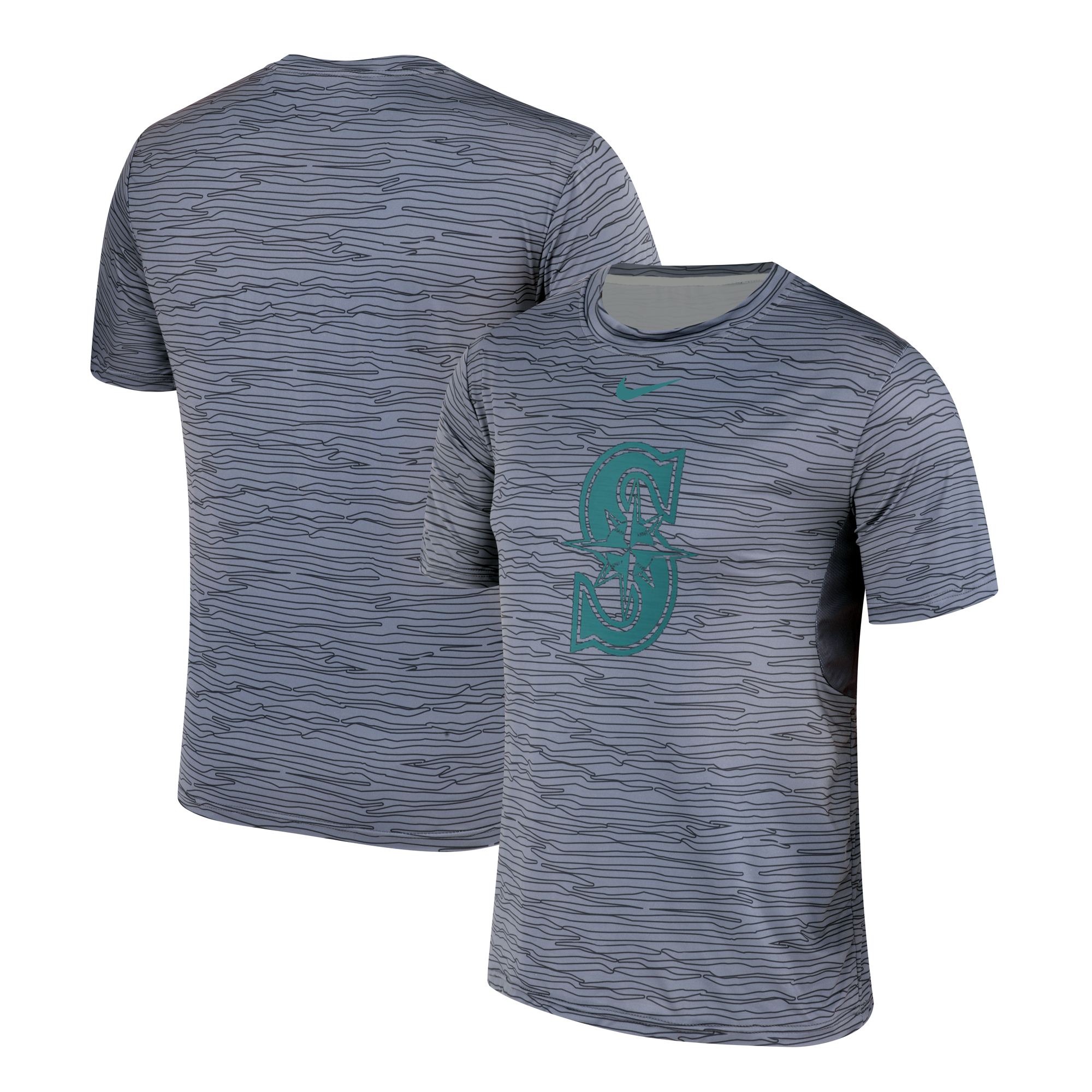 Nike Seattle Mariners Gray Black Striped Logo Performance T-Shirt