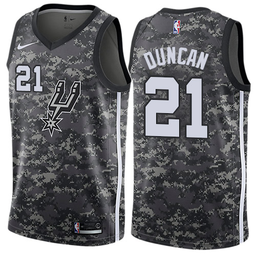 Nike Spurs #21 Tim Duncan Black NBA Swingman City Edition 2018 19 Jersey