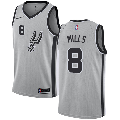 Nike Spurs #8 Patty Mills Silver NBA Swingman Statement Edition Jersey