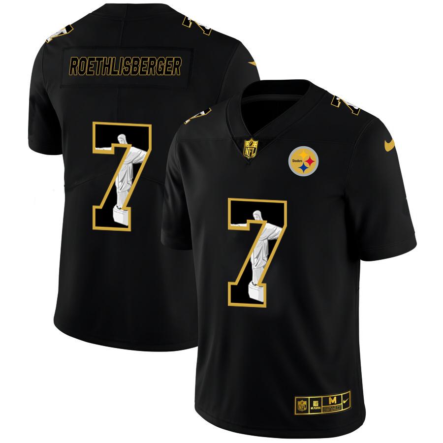Nike Steelers 7 Ben Roethlisberger Black Jesus Faith Edition Limited Jersey