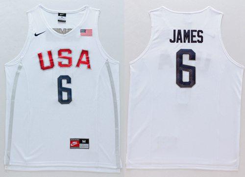 new style 8d237 091f8 Nike Team USA #6 LeBron James White 2016 Dream Team Stitched ...