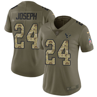 Nike Texans #24 Johnathan Joseph Olive Camo Women's Stitched NFL Limited 2017 Salute to Service Jersey