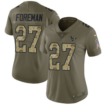 Nike Texans #27 D'Onta Foreman Olive Camo Women's Stitched NFL Limited 2017 Salute to Service Jersey