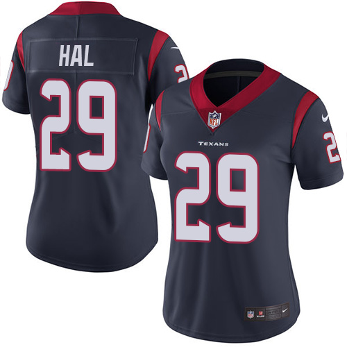 Nike Texans #29 Andre Hal Navy Blue Team Color Women's Stitched NFL Vapor Untouchable Limited Jersey