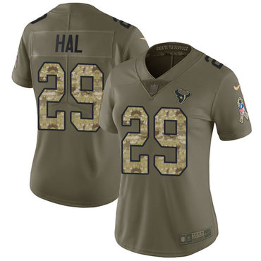 Nike Texans #29 Andre Hal Olive Camo Women's Stitched NFL Limited 2017 Salute to Service Jersey