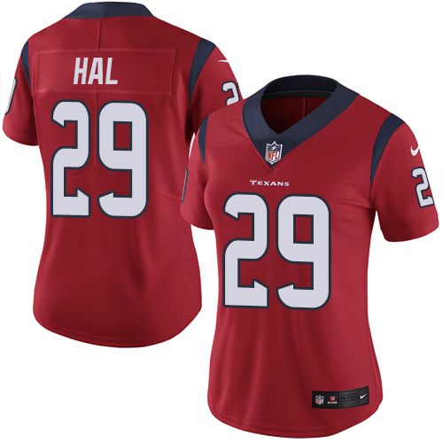 Nike Texans #29 Andre Hal Red Alternate Women's Stitched NFL Vapor Untouchable Limited Jersey