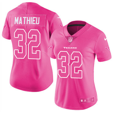 Nike Texans #32 Tyrann Mathieu Pink Women's Stitched NFL Limited Rush Fashion Jersey