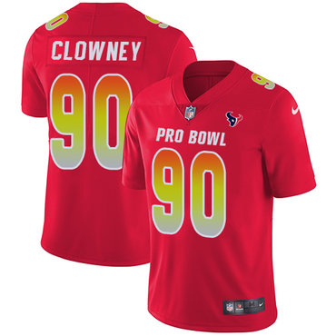 Nike Texans #90 Jadeveon Clowney Red Women's Stitched NFL Limited AFC 2018 Pro Bowl Jersey