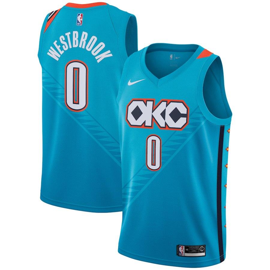Nike Thunder 0 Russell Westbrook Turquoise 2018-19 City Edition Nike Swingman Jersey